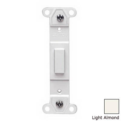 Leviton 80700-T Decora® 1-Gang No Hole Blank Toggle Wallplate Adapter; Strap Mount, Plastic, Light Almond