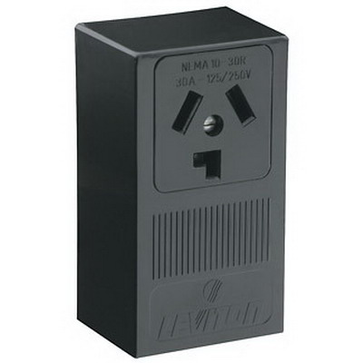 Leviton 5054 Three Pole Straight Blade Power Receptacle; Surface Mount, 125/250 Volt, 30 Amp, Black