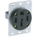 Leviton 279 Three Pole Straight Blade Receptacle; Flush Mount, 125/250 Volt, 50 Amp, Black