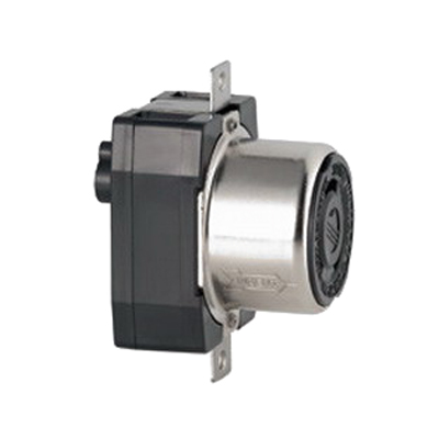 Leviton 3769 Three Pole Locking Receptacle; Flush Mount, 600/250 Volt AC/DC, 50 Amp, Black and White