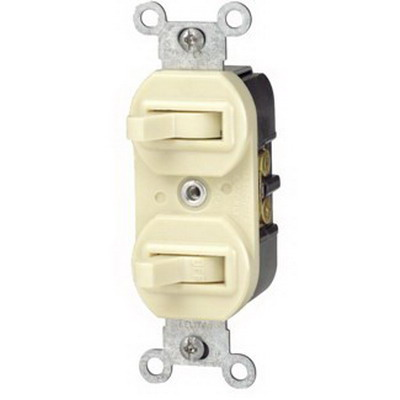Leviton 5241-I Duplex Style AC 3-Way Combination Switch; 1-Pole, 120/277 Volt AC, 15 Amp, Ivory