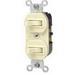 Leviton 5241-I Duplex Style AC 3-Way Combination Switch; 1-Pole, 120/277 Volt AC, 15 Amp, Ivory