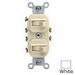 Leviton 5243-W Duplex Style AC 3-Way Combination Switch; 1-Pole, 120/277 Volt AC, 15 Amp, White