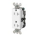 Leviton TDR20-W Decora® Plus Double Pole Straight Blade Duplex Receptacle; Wall Mount, 125 Volt, 20 Amp, White