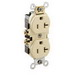 Leviton CR020-I Double Pole Straight Blade Duplex Receptacle; Wall Mount, 125 Volt, 20 Amp, Ivory