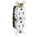 Leviton CR015-W Double Pole Straight Blade Duplex Receptacle; Wall Mount, 125 Volt, 15 Amp, White