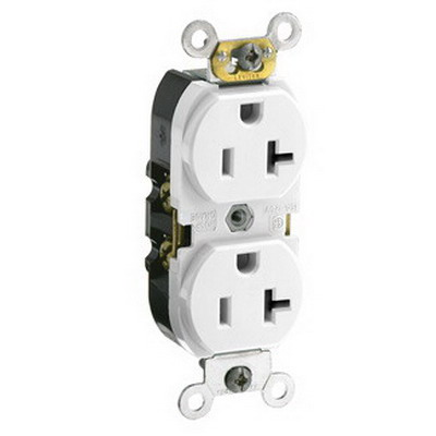 Leviton CR020-W Double Pole Straight Blade Duplex Receptacle; Wall Mount, 125 Volt, 20 Amp, White