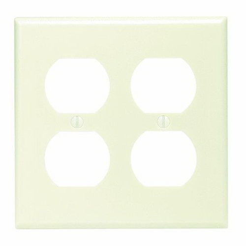 Leviton 82016 2-Gang Standard-Size Receptacle Wallplate; Device Mount, Thermoset Plastic, Almond
