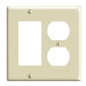 Leviton 80455-A Decora® 2-Gang Standard-Size Combination Wallplate; Device Mount, Thermoset Plastic, Almond