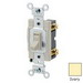 Leviton 54501-2I Specfication Grade AC Quiet Framed Toggle Switch; 1-Pole, 120/277 Volt AC, 15 Amp, Ivory