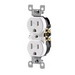 Leviton T5320-SW Tamper Resistant Double Pole Straight Blade Duplex Receptacle; Screw Mount, 125 Volt, 15 Amp, White