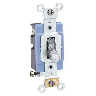 Leviton 1201-PLC Extra Heavy Duty Grade Illuminated On AC Quiet Pilot Light Toggle Switch; 1-Pole, 120 Volt AC, 15 Amp, Clear
