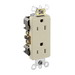 Leviton 16262-I Decora® Plus Double Pole Straight Blade Duplex Receptacle; Wall Mount, 125 Volt, 15 Amp, Ivory