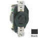Leviton 2320-B V-0-MAX™ Double Pole Locking Receptacle; Flush Mount, 250 Volt, 20 Amp, Black