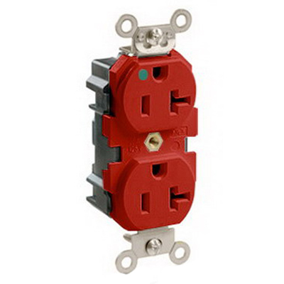Leviton M8300-R Lev-Lok® Double Pole Straight Blade Duplex Receptacle; Wall Mount, 125 Volt, 20 Amp, Red