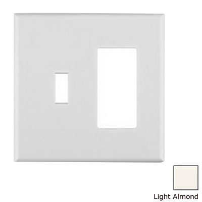 Leviton P126C-C0T Cheetah™ Decora® 2-Gang Midway-Size Combination Wallplate; Flush Mount, Thermoplastic, Light Almond