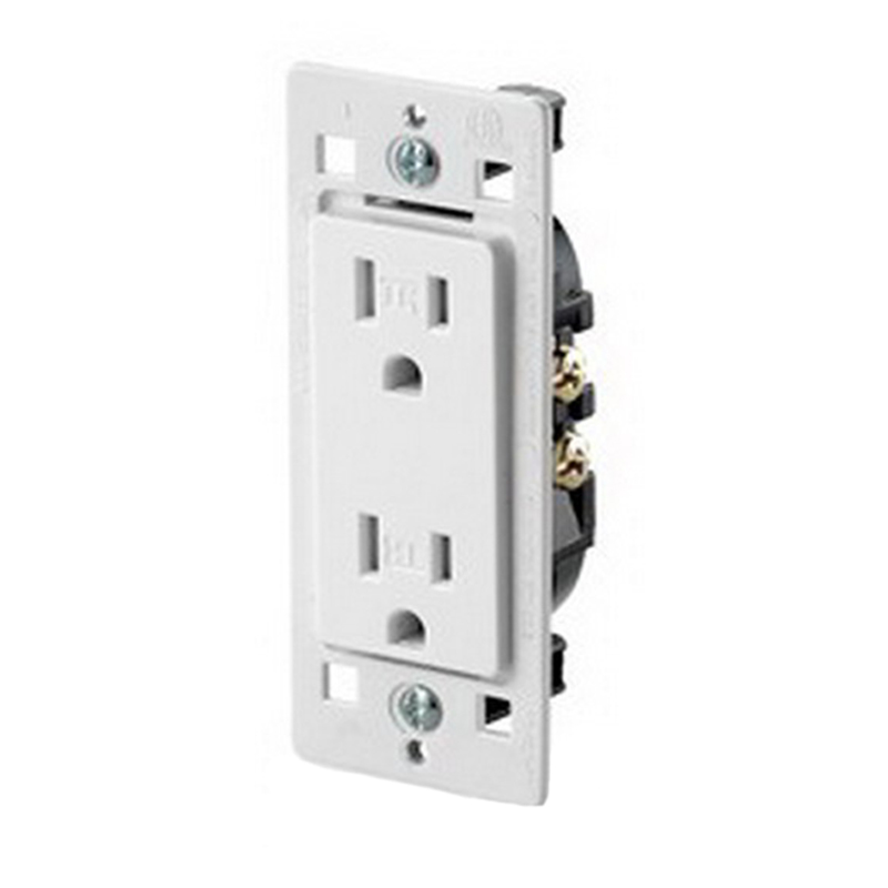 Leviton T5325-C0W Cheetah™ Decora® Tamper Resistant Double Pole Receptacle; Wall Mount, 125 Volt, 15 Amp, White