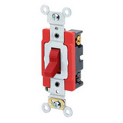 Leviton 1224-2R Extra Heavy Duty Grade AC Quiet 4-Way Toggle Switch; DPDT, 120/277 Volt AC, 20 Amp, Red
