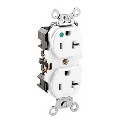 Leviton 8300-HW Double Pole Straight Blade Heavy Duty Duplex Receptacle; Wall Mount, 125 Volt, 20 Amp, White