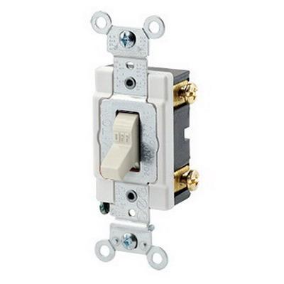 Leviton 1221-ST Extra Heavy Duty Grade AC Quiet Toggle Switch; 1-Pole, 120/277 Volt AC, 20 Amp, Light Almond