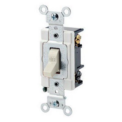Leviton 1223-ST Heavy Duty Grade AC Quiet 3-Way Toggle Switch; 1-Pole, 120/277 Volt AC, 20 Amp, Light Almond