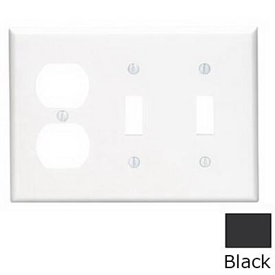 Leviton 80721-E 3-Gang Standard-Size Combination Wallplate; Device Mount, Thermoplastic Nylon, Black