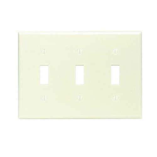 Leviton 82011 3-Gang Standard-Size Toggle Switch Wallplate; Device Mount, Plastic, Almond