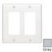 Leviton 80409-NGY Decora® 2-Gang Standard-Size GFCI Decorator Wallplate; Device Mount, Thermoplastic Nylon, Gray
