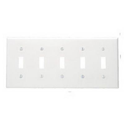 Leviton 80723-W 5-Gang Standard-Size Toggle Switch Wallplate; Device Mount, Thermoplastic Nylon, White