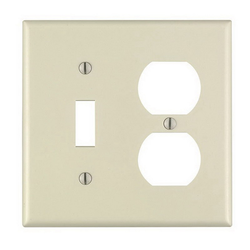 Leviton 82005 Powr-Polish 2-Gang Standard-Size Combination Wallplate; Device Mount, Thermoset Plastic, Almond
