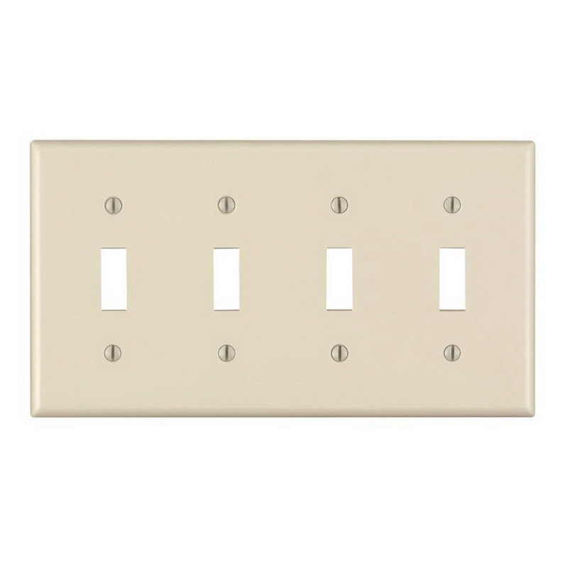 Leviton 82012 4-Gang Standard-Size Toggle Switch Wallplate; Device Mount, Plastic, Almond