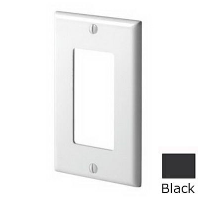 Leviton 80401-NE Decora® 1-Gang Standard-Size GFCI Decorator Wallplate; Device Mount, Thermoplastic Nylon, Black