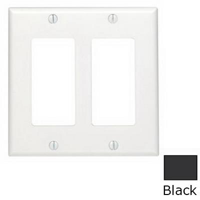 Leviton 80409-NE Decora® 2-Gang Standard-Size GFCI Decorator Wallplate; Device Mount, Thermoplastic Nylon, Black