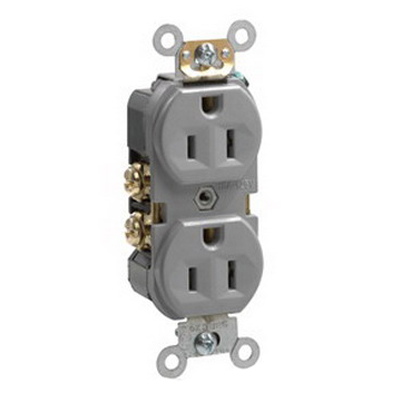 Leviton BR15-GY Double Pole Straight Blade Duplex Receptacle; Wall Mount, 125 Volt, 15 Amp, Gray