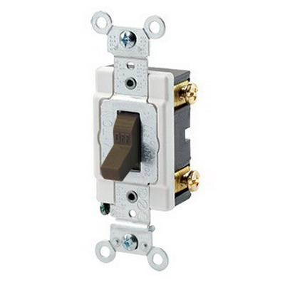 Leviton 1221-S Extra Heavy Duty Grade AC Quiet Toggle Switch; 1-Pole, 120/277 Volt AC, 20 Amp, Brown