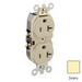 Leviton 5362-SI Double Pole Straight Blade Duplex Receptacle; Wall Mount, 125 Volt, 20 Amp, Ivory