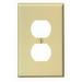 Leviton PJ8-I 1-Gang Midway-Size Duplex Receptacle Wallplate; Device Mount, Thermoplastic Nylon, Ivory