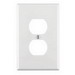 Leviton PJ8-W 1-Gang Midway-Size Duplex Receptacle Wallplate; Device Mount, Thermoplastic Nylon, White