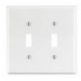 Leviton PJ2-W 2-Gang Midway-Size Toggle Switch Wallplate; Device Mount, Thermoplastic Nylon, White