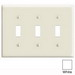 Leviton PJ3-W 3-Gang Midway-Size Toggle Switch Wallplate; Device Mount, Thermoplastic Nylon, White
