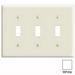 Leviton PJ3-W 3-Gang Midway-Size Toggle Switch Wallplate; Device Mount, Thermoplastic Nylon, White