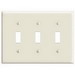 Leviton PJ3-I 3-Gang Midway-Size Toggle Switch Wallplate; Device Mount, Thermoplastic Nylon, Ivory