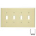 Leviton PJ4-W 4-Gang Midway-Size Toggle Switch Wallplate; Device Mount, Thermoplastic Nylon, White