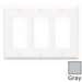 Leviton 80411-NGY Decora® 3-Gang Standard-Size GFCI Decorator Wallplate; Device Mount, Thermoplastic Nylon, Gray