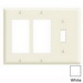 Leviton 80731-W Decora® 3-Gang Standard-Size Combination Wallplate; Device Mount, Thermoplastic Nylon, White