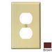 Leviton PJ8 1-Gang Midway-Size Duplex Receptacle Wallplate; Device Mount, Thermoplastic Nylon, Brown