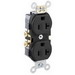 Leviton CR20-E Double Pole Straight Blade Duplex Receptacle; Wall Mount, 125 Volt, 20 Amp, Black