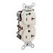 Leviton 8300-HT Double Pole Straight Blade Heavy Duty Duplex Receptacle; Wall Mount, 125 Volt, 20 Amp, Light Almond