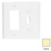 Leviton PJ126-I Decora® 2-Gang Midway-Size Combination Wallplate; Device Mount, Thermoplastic Nylon, Ivory