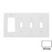 Leviton 80732-W Decora® 4-Gang Standard-Size Combination Wallplate; Device Mount, Thermoplastic Nylon, White